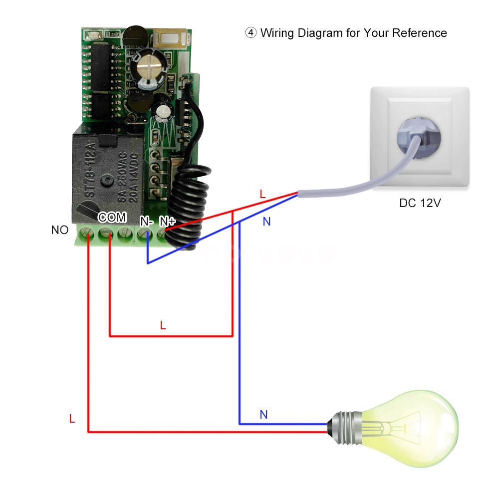 433mhz Dc 12v Universal Rf Remote Control Switch Relay Receiver Module Mini Y3w7