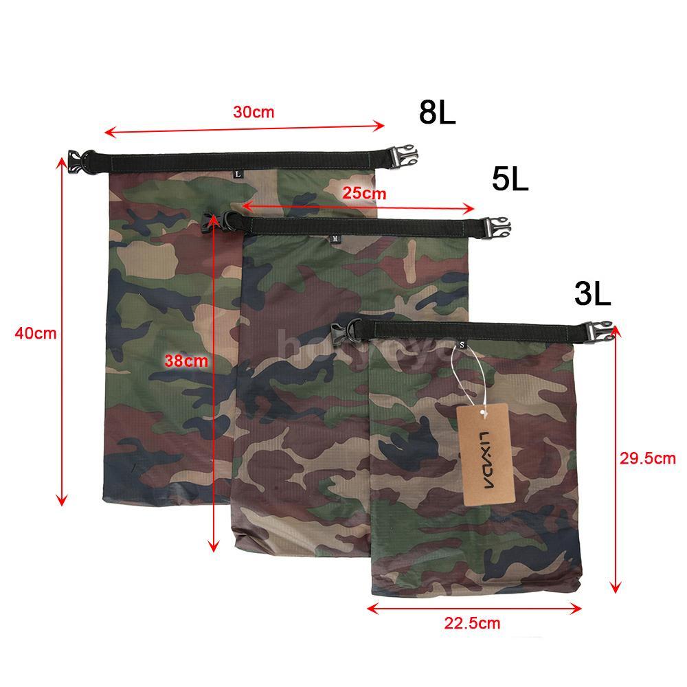Lixada Pack of 3 Waterproof Bag 3L+5L+8L Outdoor Ultralight Dry Sacks for N7C4